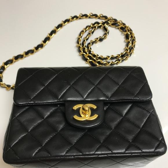 CHANEL Handbags - CHANEL VINTAGE BLACK QUILTED MINI SHOULDER BAG 8386aeeb310c0